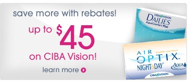Save more with rebagtes! Up to $45 on Ciba Vision!