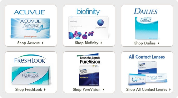 Shop top products: Acuvue Oasys, Bioinfinity, DAILIES, FreshLook, PureVision