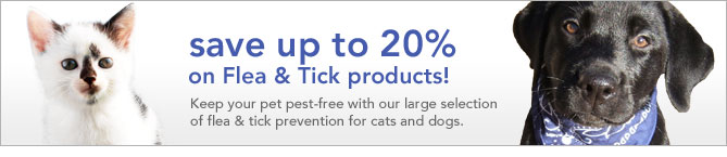 save up to 20% on flea & tick products