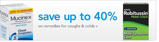 save up to 40 percent on cough and cold remedies