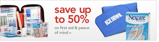 save up to 50 percent on first aid products