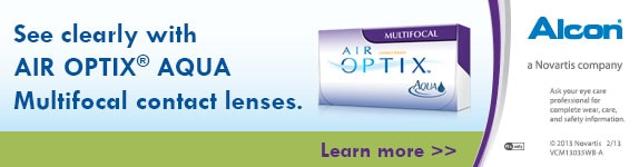 See clearly with Air Optix Aqua Multifocal contact lenses.
