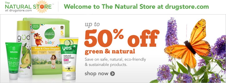 Save up to 50% off green and natural