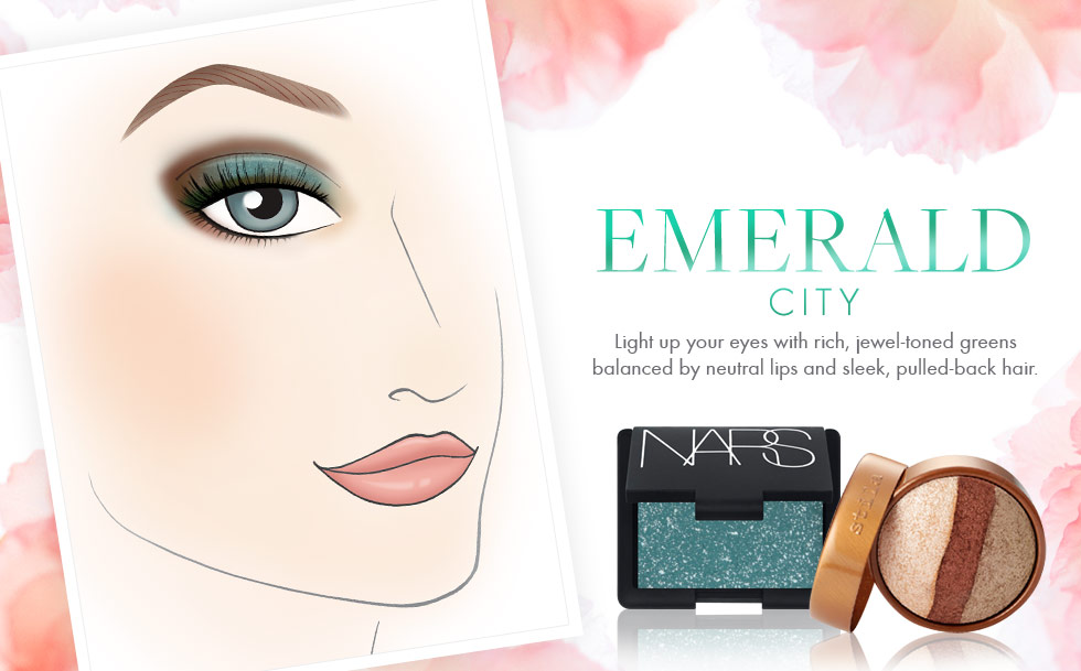 Emerald City - Light up your eyes with rich, jewel-toned greens balanced by neutral lips and sleek, pulled-back hair.