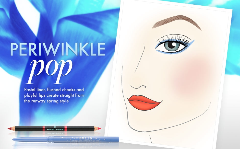 Periwinkle Pop - Pastel liner, flushed cheeks and playful lips create straight-from-the runway springs style