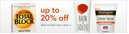 up to 20% off skin-smart sun care