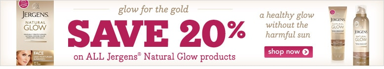 glow for the gold, save 20% on all Jergens Natural Glow products shop now