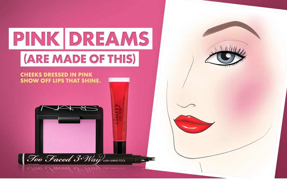 Pink dreams are made of this. Cheeks dressed in pink show off lips that shine.