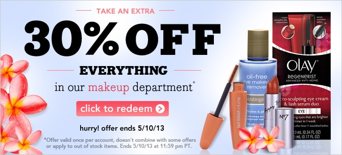 extra 20% off everything in our makeup department click to redeem