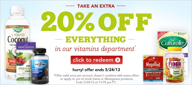 take an extra 20% off everything in our Vitamins department