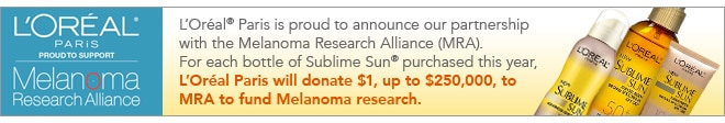 banner LOreal supports Melanoma Research Alliance