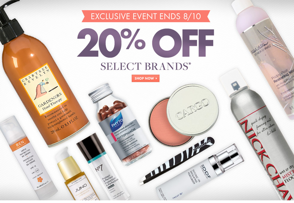 20% of select brands