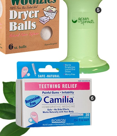 Woolzies Dryer Balls, green sprouts Baby Food, Boiron Camilia Teething Relief Homeopathic Medicine