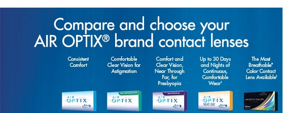 Compare and choose your Air Optix brand contact lenses.