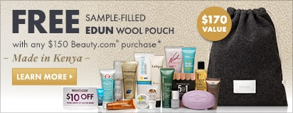Free sample-filled pouch by Edun with qualified purchase