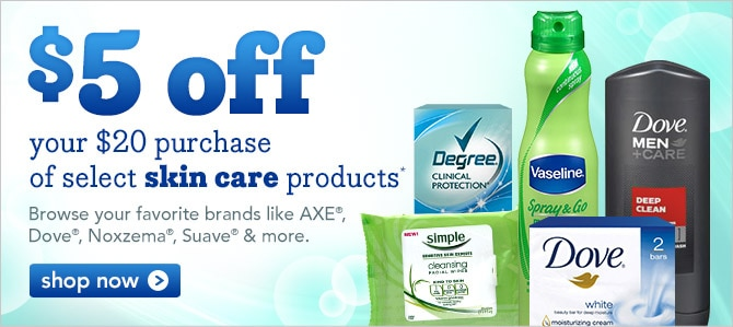 $5 off your $20 purchase of select skin care products
