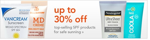 up to 30% off top-selling sunscreen