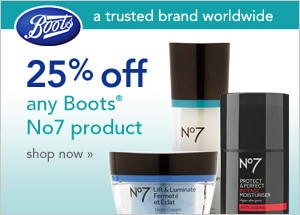 25% off any Boots No7 product shop now