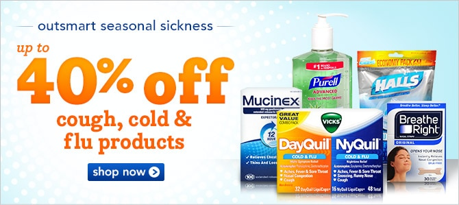 up to 40% off cough, cold and flu products
