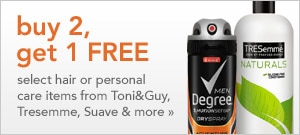 buy 2. get 1 free select hair or personal care items from Toni&Guy, Tresemme, Suave & more