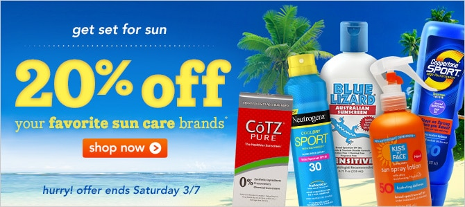 20% off your favorite sun care brands