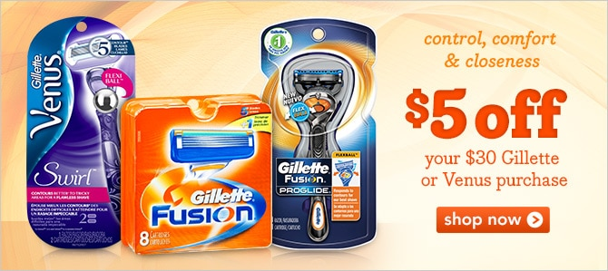 $5 off your $30 Gillette or Venus purchase
