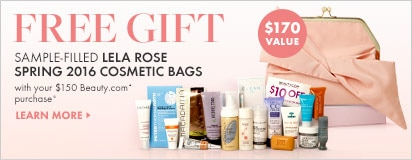 Free sample filled Spring 2016 bag by Lela Rose with $150 in-stock Beauty.com purchase