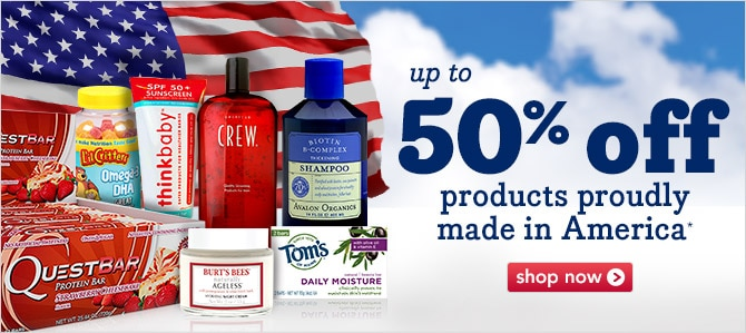 up to 50% off products proudly made in America