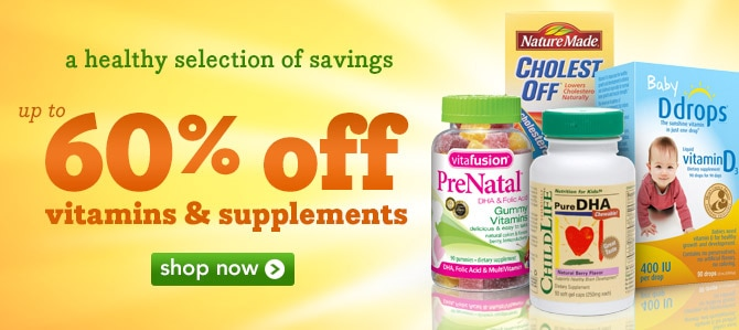 up to 60% off vitamins & supplements