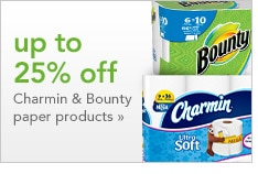 up to 25% off Charmin & Bounty paper products