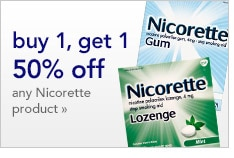 buy 1, get 1 50% off | any Nicorette product