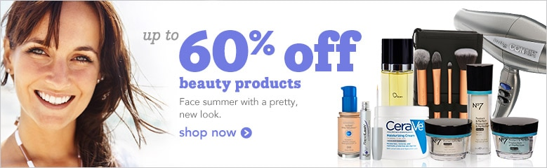 up to 60% off beauty products | face summer with a pretty, new look, shop now