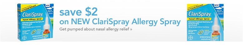 save $2 on ClariSpray allergy spray