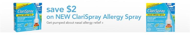 save $2 on ClariSpray allergy spray