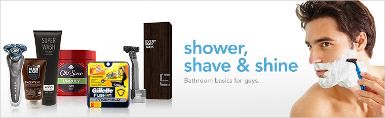 shower, shave and shine, bathroom basics for guys