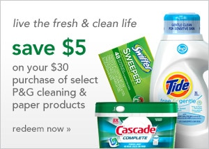 Save $5 on select P&G cleaning & paper products and live the fresh & clean life | redeem