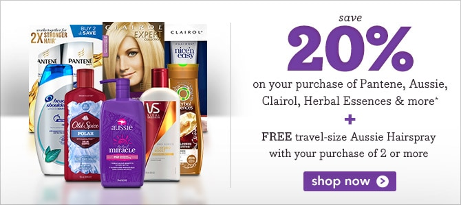 Free travel-size hairspray plus 20% off select Procter & Gamble products