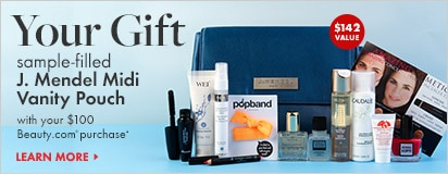Free sample filled J. Mendel pouch with $100 in-stock Beauty.com purchase
