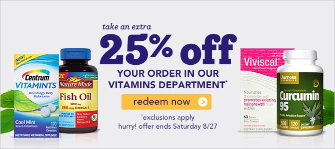 Extra 25% off vitamins, ends 8/27, click to redeem