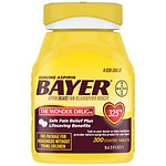 Genuine Bayer Aspirin Pain Reliever, 325mg Tablets, Easy Open Cap, Value Size- 200 ea