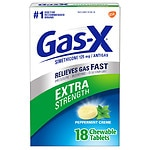 Gas-X Extra Strength Antigas Chewable Tablets, Extra Strength, Peppermint Creme- 18 ea