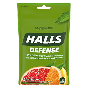 Halls Defense Vitamin C Supplement Drops, Assorted Citrus, 30 ea