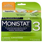 Monistat 3 3-Day Treatment Disposable Suppositories Plus Cream- 3 ea