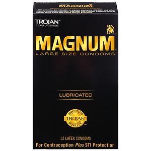 Trojan Magnum Lubricated Latex Condoms, Large- 12 ea
