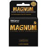Trojan Magnum Lubricated Latex Condoms- 3 ea