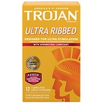 Trojan Ultra Ribbed Lubricated Latex Condoms, Spermicidal