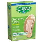 Curad Sensitive Skin Gentle Fabric Sterile Latex-Free Bandages, 1 inch diameter (25 mm)