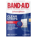 Band-Aid Brand Adhesive Bandages Clear Strips, Assorted Sizes- 45 ea