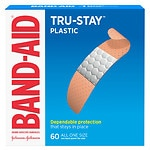 Band-Aid Plastic Brand Adhesive Bandages Strips, All One Size- 60 ea