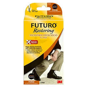 FUTURO Restoring Dress Socks for Men, Firm, Black, X-Large- 1 pr